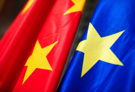 Flags of China and the European Union